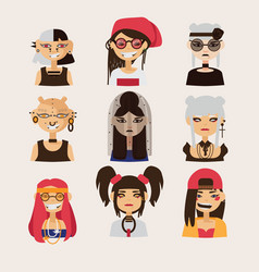 set with female subcultural characters vector image vector image