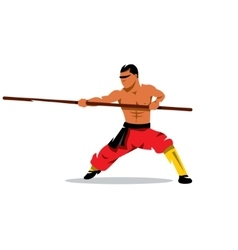 Shaolin monk with his staff Cartoon vector image vector image
