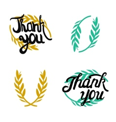 Thank you hand lettered signs with olive branch vector image