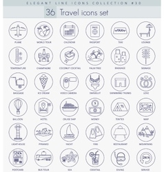 Travel outline icon set Elegant thin line vector image vector image