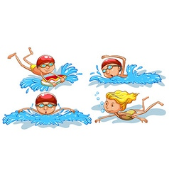 Coloured sketches of people swimming vector