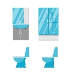 Flat bathroom icons vector image