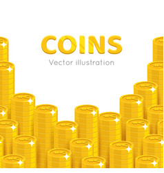 gold chinese yuan or japanese yen piles cartoon vector image