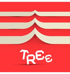 Paper Tree Symbol on Red Background vector image