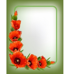 Red poppies floral frame vector image