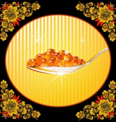 Spoon with red caviar frame vector
