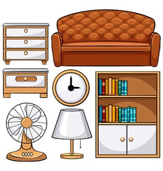 Wooden furniture and electronic equipments vector image