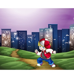 A hiphop dancer near the tall buildings vector image