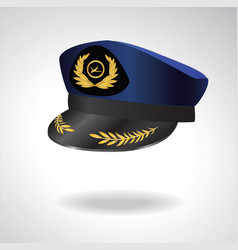 Aviator peaked cap of the pilot civil aviation vector