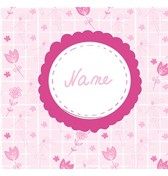 Baby girl cute annoncement card with frame vector image