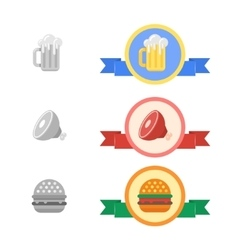 Badges of cold beer meat and hamburger vector
