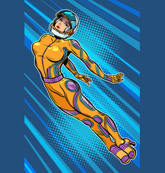 beautiful woman astronaut hero flying up vector image