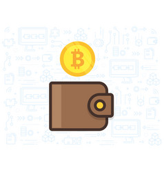 bitcoin and the wallet vector image