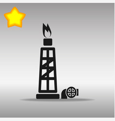 black gas rig icon button logo symbol concept high vector image