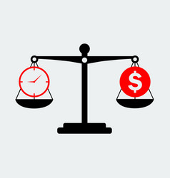 black scales balance money and time icon vector image