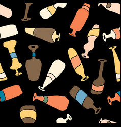 bottles different coloured seamless black pattern vector image