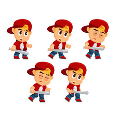 Boy character with hat attack game kits adventure vector
