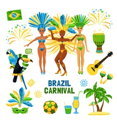 Brazil Carnival Isolated Icon Set vector