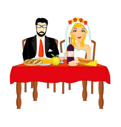 Bridegroom and bride at the table vector