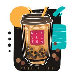 bubble tea popular taiwanese sweet drink bubble vector image
