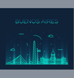 buenos aires skyline argentina linear city vector image