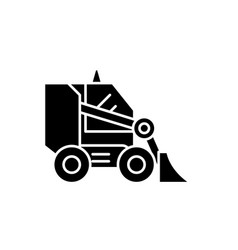bulldozer black icon sign on isolated vector image