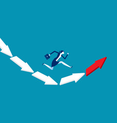 Businesswoman jumping from falling arrow to vector