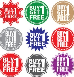 Buy 1 get 1 free label Buy 1 get 1 free sign Buy 1 vector