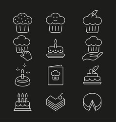 cake line icon editable stroke vector image