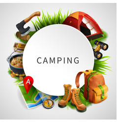 Camping colored composition vector