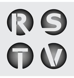 Capital letter r s t v wide white stripes vector