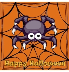 Card Happy Halloween cartoon Spider vector image