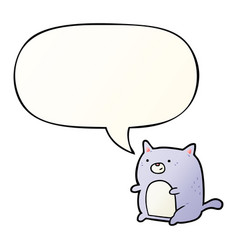 cartoon cat and speech bubble in smooth gradient vector image