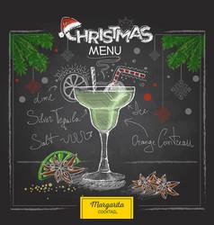 Chalk drawing christmas cocktail menu design vector