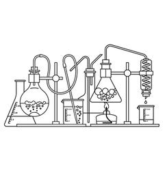 Chemical glassware icon vector