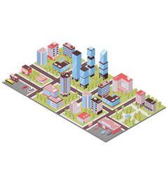 City buildings isometric composition vector
