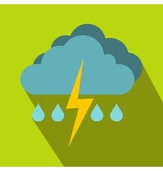 Cloud with lightning and rain icon flat style vector image