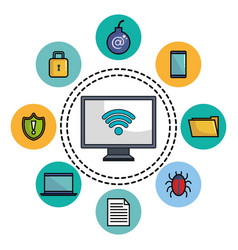computer display with online security icons vector image