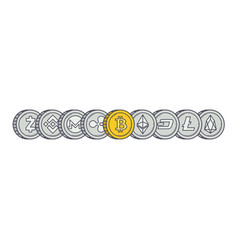 cryptocurrency coins line vector image