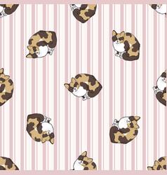 Cute cartoon tortoiseshell cat seamless vector