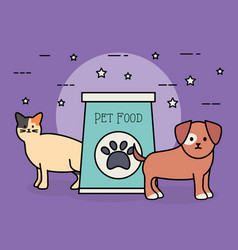 Cute cat and dog mascots with food bag vector