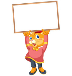Cute cat holding a sign vector