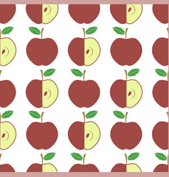 cute fresh red apple seamless pattern on white vector image
