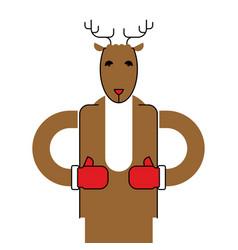 Deer santa isolated christmas animal beast for vector
