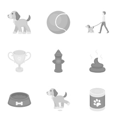 Dog equipment set icons in monochrome style big vector
