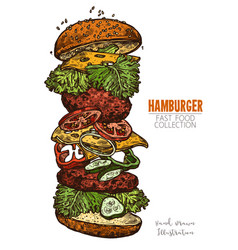 Double hamburger with meat salad cheese vector