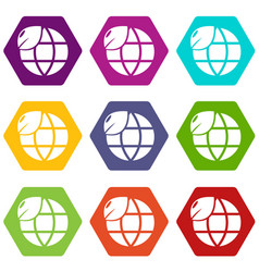 ecology earth globe icons set 9 vector image