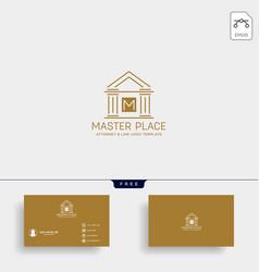 elegant attorney logo line design template vector image