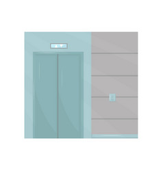 elevator with closed door buttons on wall part vector image