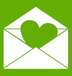 envelope with valentine heart icon green vector image